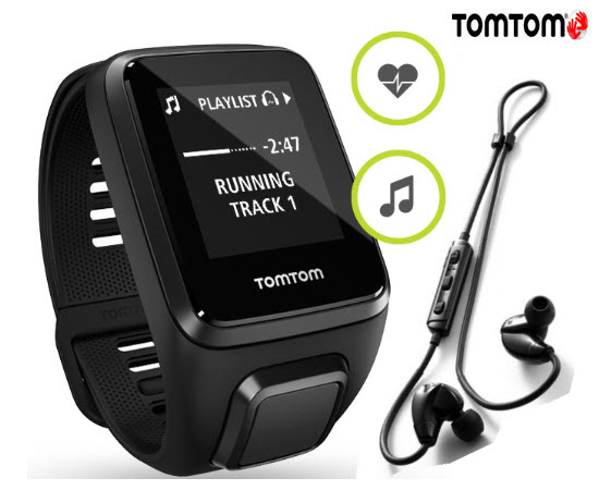 TomTom Spark 3 GPS Cadio Fitness Music HP Watch Large Black