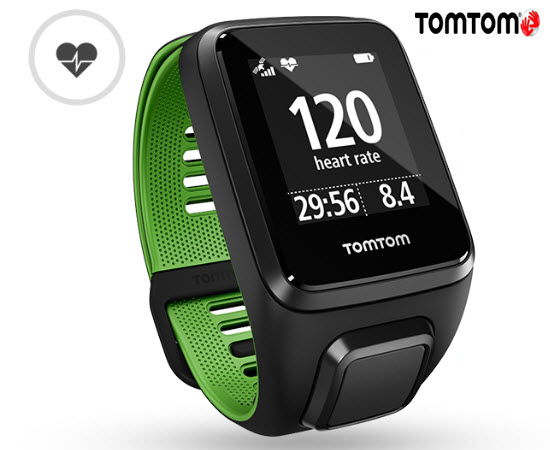 TomTom Runner 3 Cardio Smart Watch Large Black Green