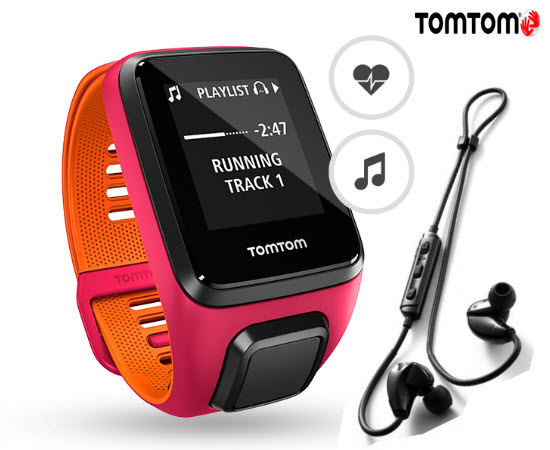 TomTom Runner 3 Cardio Music Smart Watch Small Headphone Pink Or
