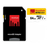 Strontium Nitro Micro SDHC 566X UHS-1 Card with Adaptor - 64GB