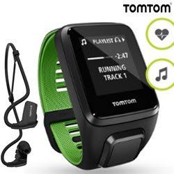 TomTom Runner 3 Cardio Music Smart Watch Small HeadPhone Green
