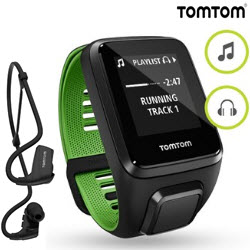 TomTom Runner 3 Music Smart Watch Large HeadPhone Green