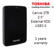 Toshiba Canvio 2TB 2.5in USB3.0 External Hard Drive