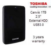 Toshiba Canvio 1TB 2.5in USB3.0 External Hard Drive