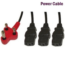 Power Cable 3 Pin to 3 IEC 3.8M Black