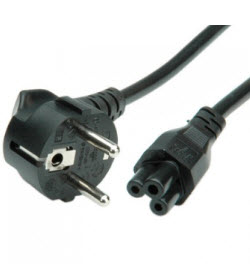 Power cable 2 Pin Euro Plug to clover 1m Black
